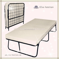 mordern cheap single size/twin size/double size iron traveler metal folding guest bed, folding bed frame with caster for sale