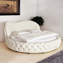 Luxury home furniture round bed with crystals and LED circle bed on sale