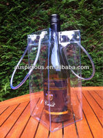 Good crystal clear vinyl wine carry bag pvc cooler tote bag