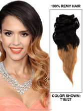 """YILU 22"""" Remy Human Hair Clip in Extensions Body Wave Ombre Color"""