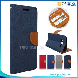 Hot selling contrast color book style linen leather folio case cover for Tecno X506