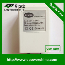 High efficiency 12VDC 1A 2A 12VDC 1A 2A waterproof power supply