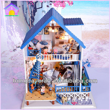 Romantic Seaside House DIY Wooden House Toy Falling Love in Santorini with Light