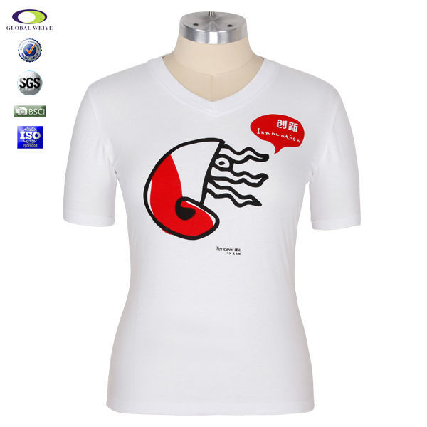 Made in china custom t shirt printing v neck view custom T shirt printing china