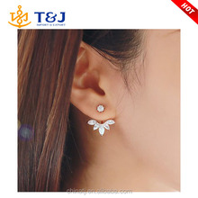 2015 Fashion Earing Big Crystal Rose Gold Silver Ear Jackets Jewelry High Quality /Leaf Ear Clips Stud Earrings For Women/