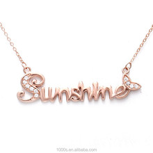 """2015 925 silver necklace, """"sunshine"""" necklace, rose gold plated"""