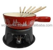 cast iron cheese fondue set ,Cast Iron Enamel Round Chafing Dish, Mini Cheese Fondue Set