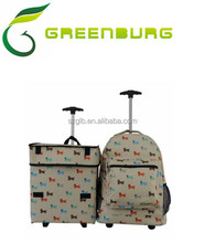 Animals printing trolley backpack luggage and trolley box 2pcs suitcase