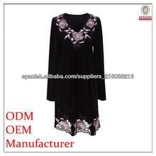 vestido de manga larga bordada de moda las mujeres
