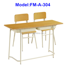 FM-A-304 Plywood double desk and chair school
