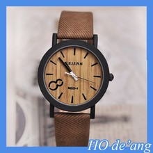 HOGIFT Top Selling Simulation Wooden Watch/Relojes Quartz Men Watches/Casual Wooden Color Leather Strap Watch