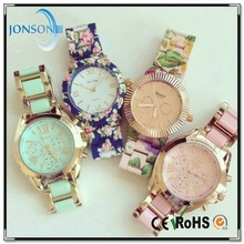 2015 Fashion platinum floral watch watch geneva women for lady