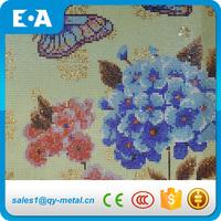 Art Mural Glass Blue Butterfly And Flower Mosaic Wall Pattern