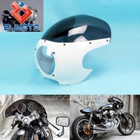 """ZJMOTO 5 3/4"""" ABS Front Head Light Fairing Bright White+Smoke Motorcycle Headlight Fairings Fit To Harley Custom Cafe Racer"""