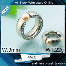 trendy unique diamond design stainless steel pearl ring mountings