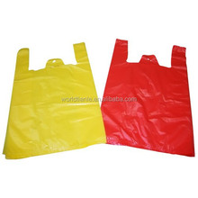 Plain yellow/red carrier PE t shirt bags, vest carrier handle plastic t shirt bags for supermarket or grocery