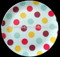 Melamine Coupe Cake Plate With color dot design