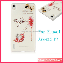 3D Handmade Bling Crystal Diamond Cell Phone Case Hard Cover For Huawei Ascend P7