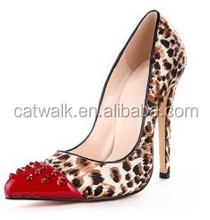 Red pointed toes high heel women pump shoes evening shoes with leopard printed 2015 women's fashion shoes