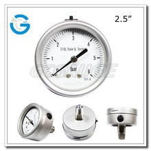 High quality bourdon tube back connection stainless steel air pressure gage