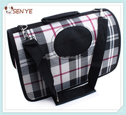 Pet dog folding carrier bag travel dog bag with Classic grid