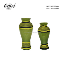2015 New design India style glass vase/Brown & green glass vase/Antique green glass vase