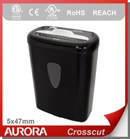 Aurora AS800CD Plastic Paper Shredder, 8 sheet (A4) Cross cut 5x47 mm,Light Duty Shredding machine for Home & Office