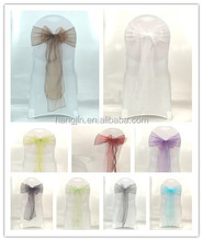 fancy wedding party use colorful crystal organza sashes for chairs