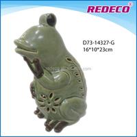Glazed ceramic garden frog ornament wholesale