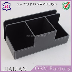 Leather Desk Stationery Organizer Storage Box, Pen/Pencil ,Cell phone, Business Cards, Note Paper, Remote Control holder