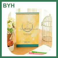 Cute desk calendar with notepad,customer promotion paper calendar,standing desk calendar