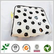 FREE SAMPLE!White black polka dot travel make up bag plastic soft bag