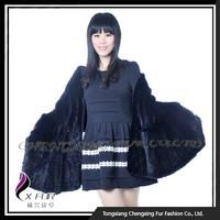 CX-B-M-104B Ladies Fashion Black Mink Fur Blanket Scarf Shawl