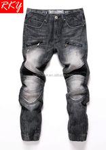 2014 Men's Jeans Jogger Pant Fit Black Denim Jeans Pant Fashion Design Motorcycle Jeans Pant TDL7037-1