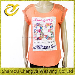 women round neck number beaded pattern short sleeve cotton knit t-shirt