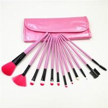 Pink Color 12 pcs Makeup Brushes Tools Cosmetic Facial Make up Set Brush Kit with PU Case