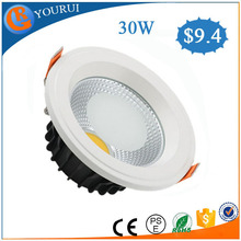 2015 manufacture high bright led recessed downlight 10W 20W aluminum dimmable led cob downlight 30W for supermarket and cinema