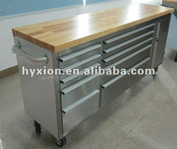 72 inch stainless steel garage tool box with wooden top/mobile garage drawer cabinetbox
