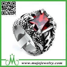 2015 popular colored zircon diamond inlay without plating fashion ring with red zircon