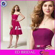 Satin knee length purple 2012 Bridesmaid Dress