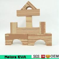 Melors DIY Construction Kids Toy large eva foam children Wooden grain building blocks/kids building blocks with factory price