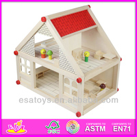 2015 New Wooden toy doll house,popular wooden dollhouse funiture and hot sale kids wooden dollhouse set W06A033