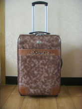 Two wheels PU luggage trolley case