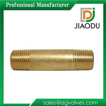 High qulity and low price Zhejiang manufacture forged yellow brass color metric male threaded pipe nipple for water