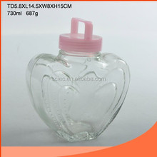 Hearted Shaped Glass Bottle for Juice with Plastic Lid