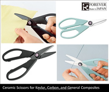 ceramic scissors for cutting aramid fiber and other hard to cut materials, made in Japan, long lasting sharpness, non-conductive