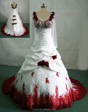 DL-433 ball gown wedding dress real picture rose embroidery wedding dress white wedding dress red roses