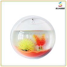 3.5L High quality factory price fashion design round shape acrylic fish tank with 100% virgin material