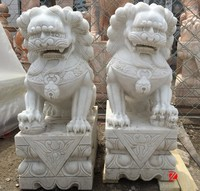 White marble hand caved Chinese lion foo dog fu dog statue for sale