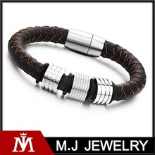 Factory direct price 316L stainless steel bracelet genuine leather real leather bracelet